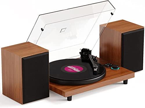Tocadiscos de Vinilo con Bluetooth Sistema Hi-Fi con Altavoces, admite Salida Salida RCA, Bluetooth, Convertidor con contrapeso, con Cartucho magnético, Grabador de Vinilo a MP3