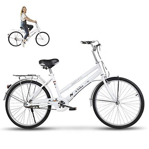 Vélo de Banlieue Urbaine Lady, Vélo Hybride Femmes, Traditionnel Classique Rétro Lumière Hommes Cruiser Vélo Vintage Dutch vélo Confort vélo pour Adultes Jeunes étudiants Sports Loisirs,24'
