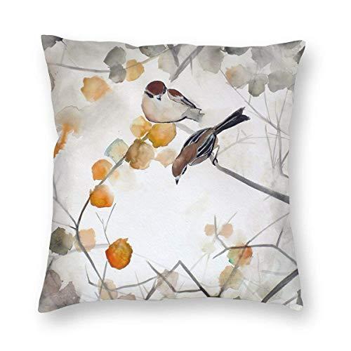 N \ B Vintage otoño pájaro árbol rama gracias impresión felpa suave almohada cuadrada decoración hogar cojín cubierta sofá dormitorio coche 18 x 18 pulgadas
