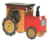 Tirelire Tracteur Rouge pour Enfants : Piggy en Bois pour Enfants : Top Cadeau de Noël pour garçons : Serrure Secrète Nouveauté ! (Taille 17 x 12 x 6cm)