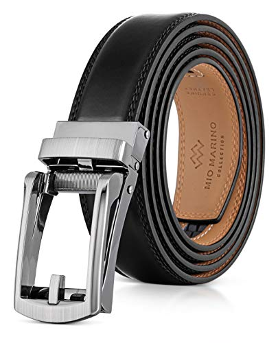 """Mio Marino Men's Genuine Leather Ratchet Belt with Linxx Adjustable Buckle - 1.38"""" Width - Bristle - Deep Charcoal - Adjustable from 28"""" to 44"""" Waist"""