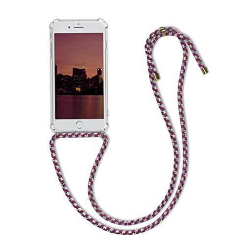 kwmobile Funda con Cuerda Compatible con Apple iPhone 7 Plus / 8 Plus - Carcasa Transparente de TPU con Cuerda para Colgar en el Cuello