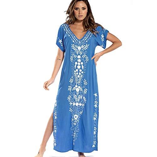 Lazz1on Donna Abito da Spiaggia Kaftan Parei Costume da Bagno Lungo Tunica Maxi Copribikini Cover ups (Blu)
