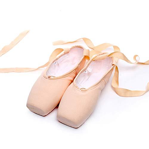 Ballett Spitzenschuhe Satin/Leinwand Professionelle Tanzschuhe Ballerinas mit Aufgenähten Bändern für Damen Mädchen (Bitte wählen Sie eine Nummer größer)