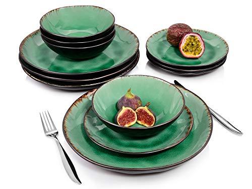 Sänger Tafelservice Palm Beach - 12 teiliges Geschirr-Service für 4 Personen, farbiges Teller-Set aus Steingut mit Servierteller, Dessertteller und Schalen, Vintage-Look durch Reißlack-Effekt