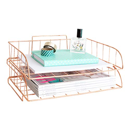 Blu Monaco Rose Gold Desk Organizer Stackable Paper Tray Set of 2 - Metal Wire Two Tier Tray - Stackable Letter Tray - Inbox Tray for Desk