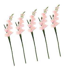 Silk Flower Arrangements LOVIVER 5Pack Artificial Gladiolus Flowers for Wedding DIY Floral Art Plant Home Office Party Decoration (Pink)
