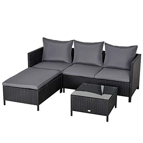 Outsunny Conjunto de Muebles de Jardín 4 Piezas Ratán Doble Sofá Mesa de Café Taburete con Cojines Acolchados para Exteriores Marco de Metal Negro
