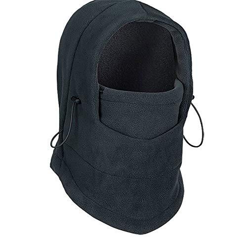 Yangyme Outdoor-Handschuhe Winter-Ski-Gesichtsmaske, thermisches Fleece-Gewebe mit atmungsaktiven Lüftungsöffnungen, Winddicht und wasserdicht, warme Kapuze, passender Helm für Erwachsene (schwarz)