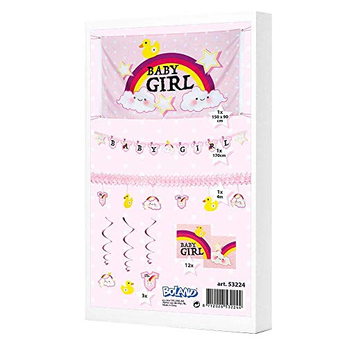 Boland 53224 Party Pack Baby Girl Flag Garland Letter Garland 3 Decoration Swirls 12 Napkins Baby Shower Birth Girl Christening Baby Shower Baby Dots Decoration