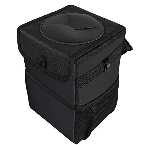 Auto Mülleimer mit Deckel, Wasserdicht Auslaufsicher Abfalltasche Auto, Zusammenfaltbare Organizer Abfall-Tasche für Unterwegs,Schwarz,6.5 Liter(klein)