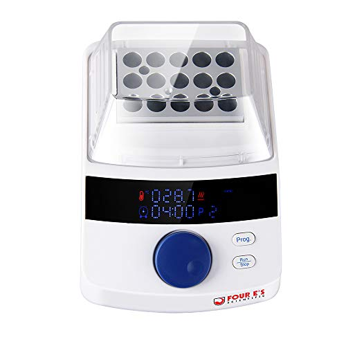 Mini Seco Baño Incubadora, Four E'S Scientific Led Digital Pantalla Laboratorio Equipo de Calefacción RT +5- 100°C Control Temperatura con Bloque (15 x 1.5ml), Enchufe Europeo