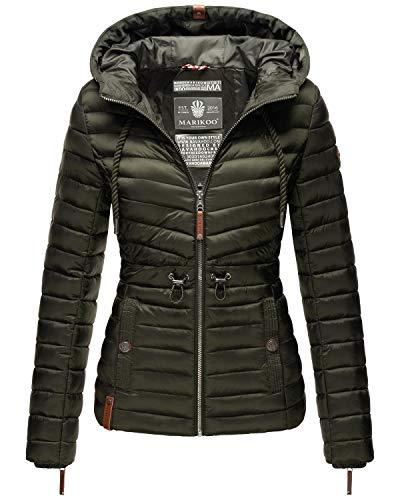 Marikoo Damen Übergangsjacke Stepp-Jacke mit Kapuze Aniyaa Olive Gr. M