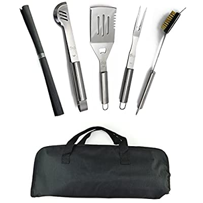 ValdoHome Stainless Steel BBQ Grilling Tool Set - 5 Piece Starter Barbecue Kit W/Carry Bag