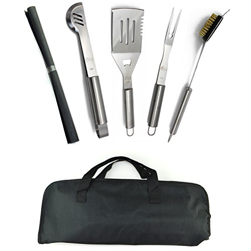 ValdoHome New Stainless Steel BBQ Grill Tools Set - 5 Piece Grilling...