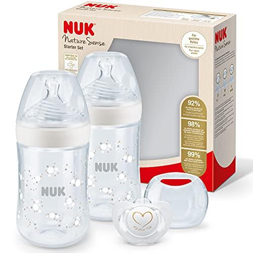 NUK Nature Sense Babyflaschen Twin Set | 0–6Monate | 2 Anti-KolikFlaschen (260 ml) mit Temperature Control Anzeige + 1 Schnuller | mit brustähnlichem Trinksauger | BPA-frei | Weiß | 3 Stück