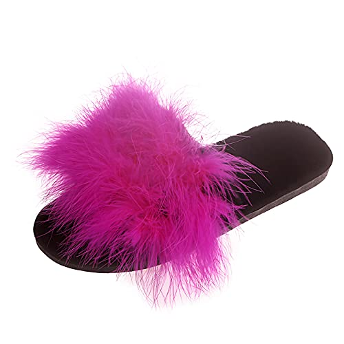 HEling Zapatillas de estar por casa de felpa para mujer, cuadradas, de un solo color, de felpa, de felpa, para verano, abiertas, cálidas, antideslizantes, planas, Rosa intenso., 43 EU