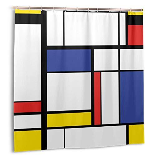 Cortina de Ducha, Pintura Moderna Abstracta en Mondrian Colorido Bauhaus Geometric Cortina de baño con Ganchos 72 x 72 Pulgadas