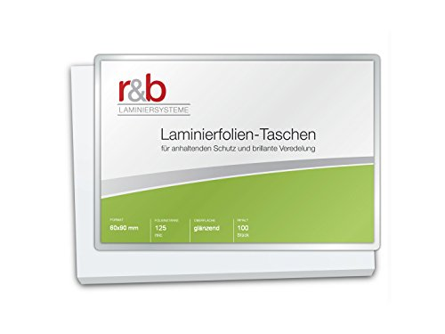 R & B M BC 125Lot de 100pochettes de plastification Carte de visite, 60x 90mm, brillant, 2x 125microns, lot de 100