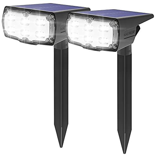 GOLUMUP 36 LED Luces Solares para Exterior Jardin Focos Solares Exterior Impermeable IP67 Lámparas Solares para Jardín, Patio, Calzada, Piscina y Camping - Blanco Frío (2 Piezas)