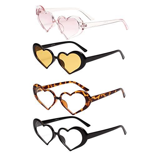 Hellery 4X Gafas De Sol En Forma De Corazón De Moda Gafas De Sol De Estilo Vintage Gafas De Club
