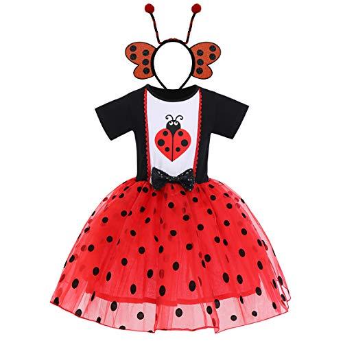 FYMNSI Déguisement d'Halloween pour bébé fille et enfant Fantôme citrouille A-ligne Tulle Princesse Carnaval Party Cosplay Déguisement pour 6 mois à 6 ans - Rouge - 18 mois