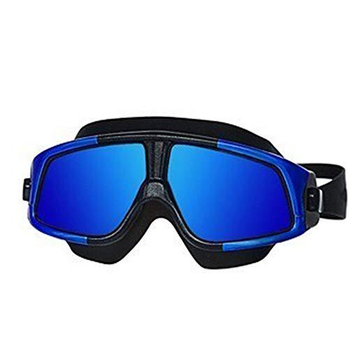 Gafas de natación de marco grande, gafas de natación de alta definición a prueba de agua a prueba de rayos ultravioleta de protección contra el agua de deportes de agua de alta definición, unisex,Azul