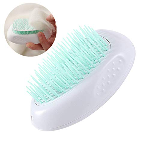 Dogs Cats Brush for Grooming,Pet Slicker Comb for Shedding Hair, Removes Undercoat, Mats and Loose Hair, Self Cleaning and Round Tip Bristles