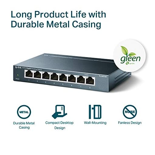 TP-Link TL-SG108 V3.0, Switch de Escritorio Red (10/100/1000 Mbps, Carcasa de Acero, IEEE 802.3 X, Auto-MDI/MDIX, Plug… 7
