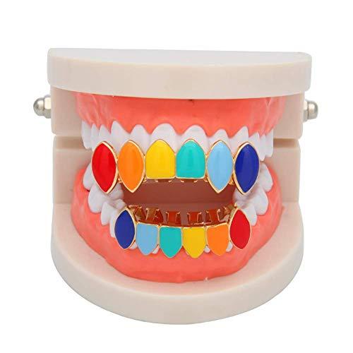 XIONGDA Hip Hop Zahn Grill Set MetalIrregular Rainbow Teeth Caps Trend Schmuck Zubehör Abnehmbare Zähne Grills Set Hip Hop Menschen Unisex