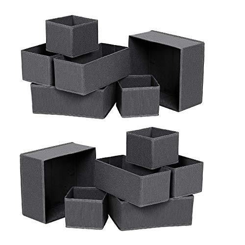 Qisiewell Unterwäsche-Aufbewahrungsbox Schublade Organizer Kleiderschrankschubladen Divider für Socken BHS Krawatten Faltbox Stoffbox Schrank 12er Set Dunkelgrau