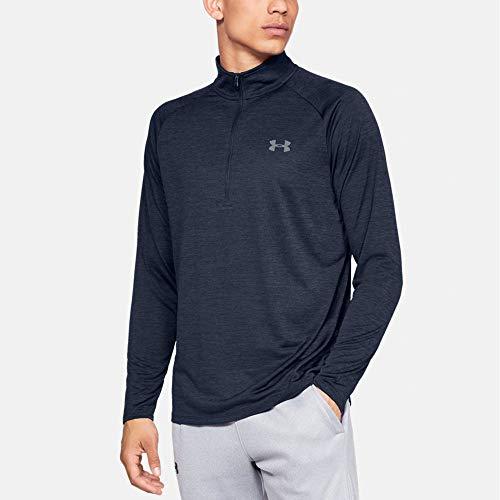 Under Armour Herren UA Tech 2.0 langärmliges Sportshirt mit Half Zip, sportliches Longsleeve, schnell trocknendes Langarmshirt für Männer, Blau (Academy/Steel 409) ,L, 1328495