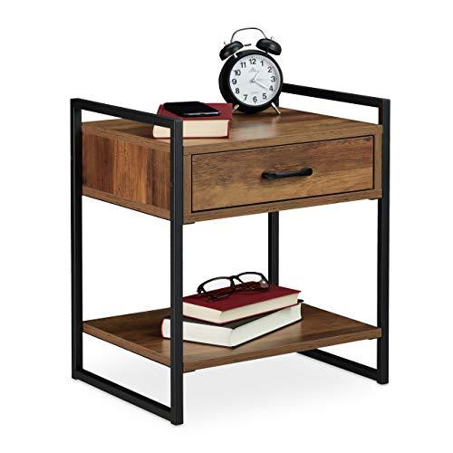 Relaxdays Nachttisch, Schublade, Industrial, Beistelltisch Wohn-& Schlafzimmer, Metall, 50x43x37 cm, Holzoptik/schwarz, 1 Stück