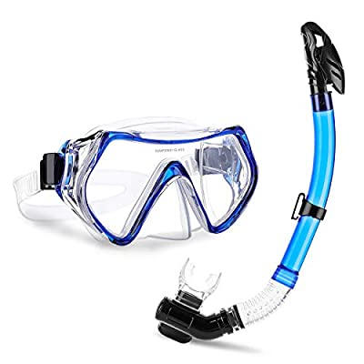 CAMTOA Snorkeling Set, Scuba Diving Snorkeling Freediving Mask for Adult,Anti-Fog Dry Breathing Tube Snorkeling Suit with Silicon Mouth Piece,Purge Valve and Anti-Splash Guard for Diving Blue