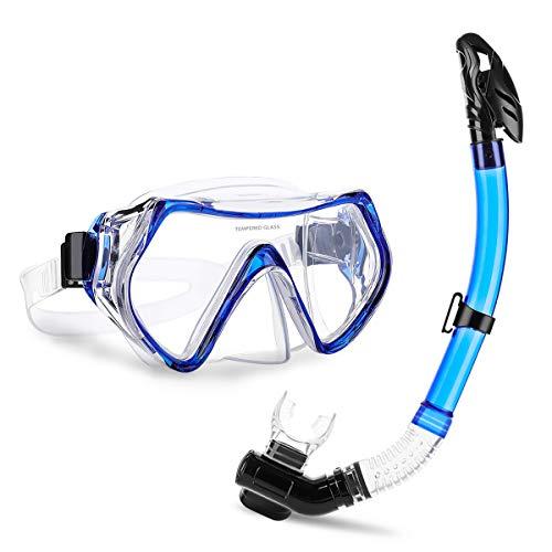 CAMTOA Set Snorkeling, Maschera da Immersione, Antiappannamento, Maschera Blu