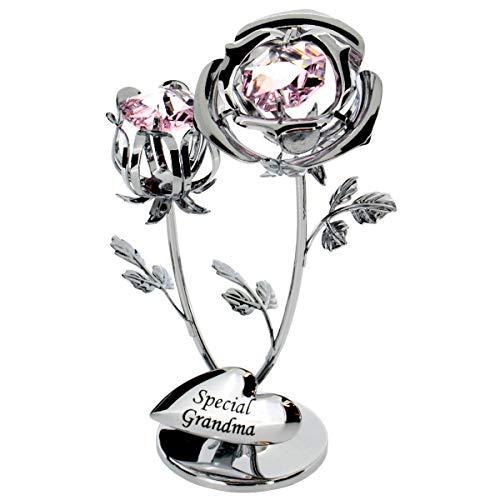 Crystocraft chromé Décoration Rose & bouton de rose (Special Grandma)