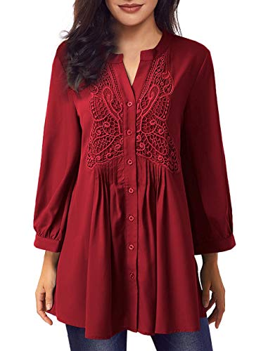 Women Long Sleeve Notch Neck Pleated Loose Blouse Tunic Top(Red,XXL)