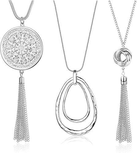 Finrezio 3 Pcs Sautoir Femme Collier Long Collier Pull Pendentif Pompon Fantaisie Boheme Argent