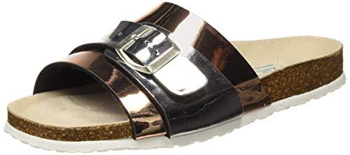 PAEZ Bio Slide Sandal, Sandalias con Punta Abierta Mujer, Plateado (Plateado 204), 40 EU