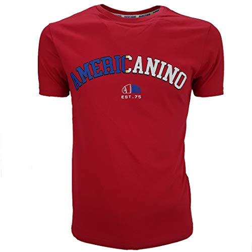 Americanino - Camiseta de manga corta para hombre, de algodón, color blanco, negro, XL, XXL roja L