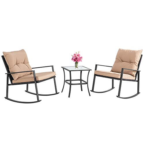 JY QAQA Outdoor 3-Piece Rocking Bistro Set, Patio Wicker Furniture Conversation Sets-2 Chairs with Glass Coffee Table(Khaki Cushion)