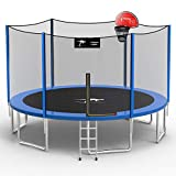 Kangaroo Hoppers 14 FT Trampoline with Safety Enclosure Net, Basketball Hoop and Ladder -2021 Upgraded Kids Basketball Hoop Trampoline -TUV & ASTM Tested (BLUE-14FT)