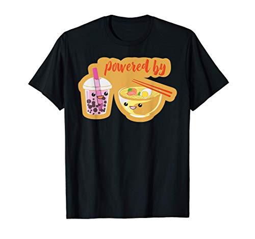 Powered By Té De Burbujas Ramen Fideos Japoneses Divertidos Camiseta