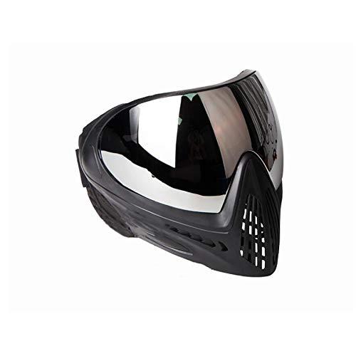FMA F1 Paintball Airsoft Bike Safety Anti-Fog Goggle/Full Single Layer Face Mask Hunting (Negro Puro, Lente Plateada)