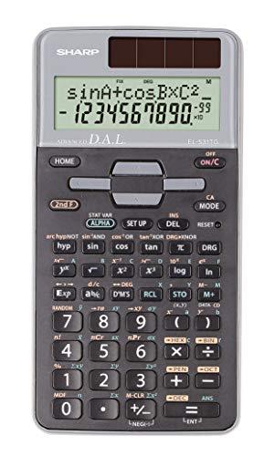 Sharp EL-531 TG-GY Wetenschappelijke schoolrekenmachine (D.A.L.-invoer, op zonne-energie/batterijen) zilver