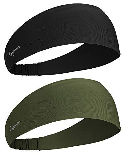 Sport Stirnband für Herren und Damen, Unisex Haarband Mode Stirnbänder Feuchtigkeitsableitendes Schweißband Anti Rutsch Elastisch Headband für Yoga, Laufen, Wandern, Fahrrad, Tennisbälle(Armee Grün)