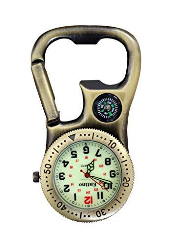 Entino Clip-On-Karabineruhr mit Kompass und Flaschenöffner für Ärzte, Krankenschwestern, Sanitäter, Köche, zusätzliche Batterie (Antike Bronze mit leuchtendem Gesicht)