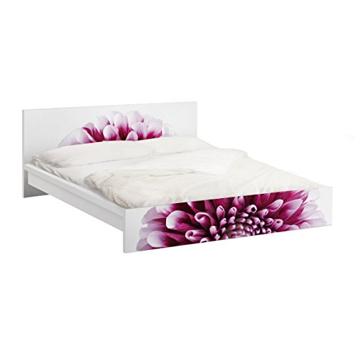Apalis Möbelfolie für IKEA Malm Bett niedrig 140x200cm Klebefolie Deko Aster 77 x 157cm