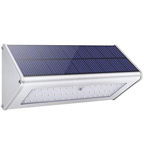 Licwshi 1100 Lumens Solarleuchten 48 LED 4500mAh mit Aluminiumlegierungsgehäuse, Wasserdichtkeit im Freien, Radar-Bewegungsinduktion, es ist geeignet für Laubengang, Garten, Hof, Garage -warm weißes Licht ( neue Version 2018- eine Packung)