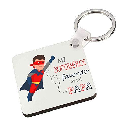 Kembilove Llavero del Mejor Padre de Superhéroe – Idea de regalo para el Día del Padre de parte del Hijo o la Hija – Llavero Personalizado divertido y colorido para Papá – Llavero para Anivers
